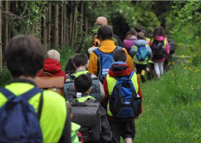 Vers l'école à pied, avec les copains